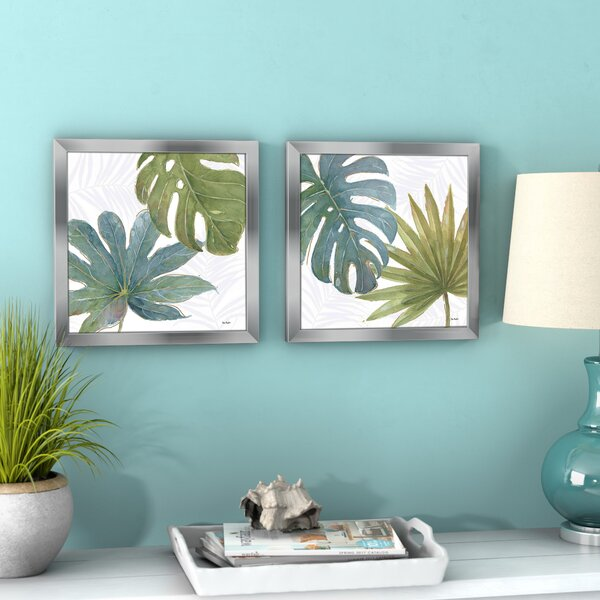 Tropical Blush Vii 2 Piece Framed Watercolor Painting Print Set By Bay Isle Home.
