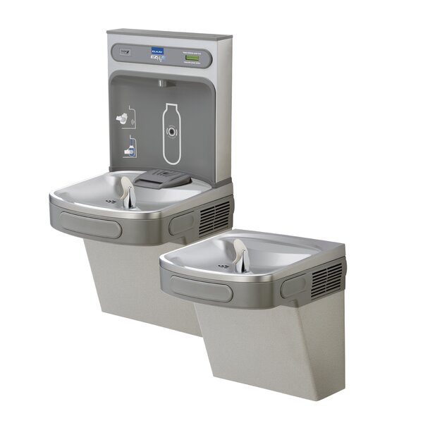 EZH2O ADA Compliant 2 Station Drinking Fountain with Bottle Filling Station by Elkay