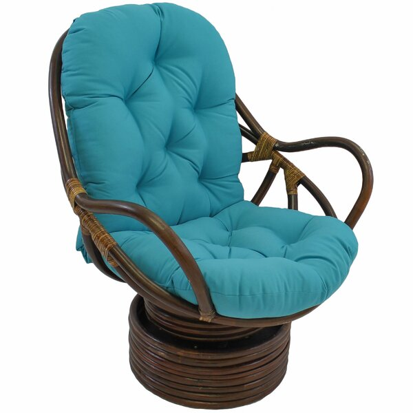 Benahid Indoor Rattan Swivel Chair with Cushion by Bungalow Rose
