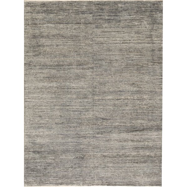 Hand-Knotted Wool Charcoal/Blue Area Rug