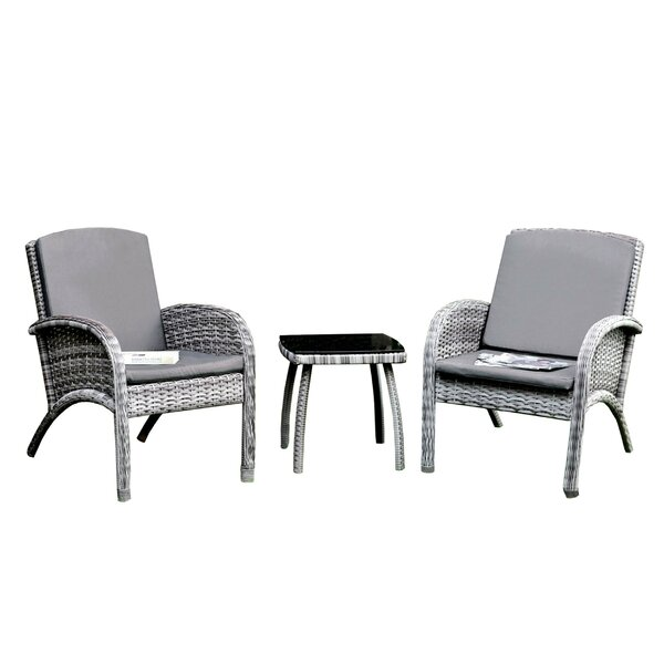 Finkelstein 3 Piece Rattan Conversation Set with Cushions by Bungalow Rose