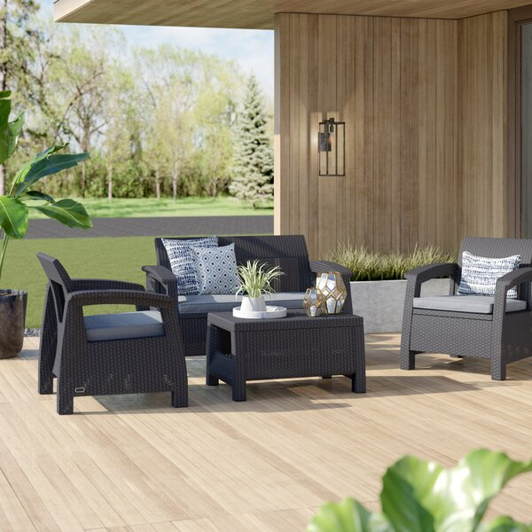 Berard 4 Piece Rattan Sofa Seating Group with Cushions by Mercury Row