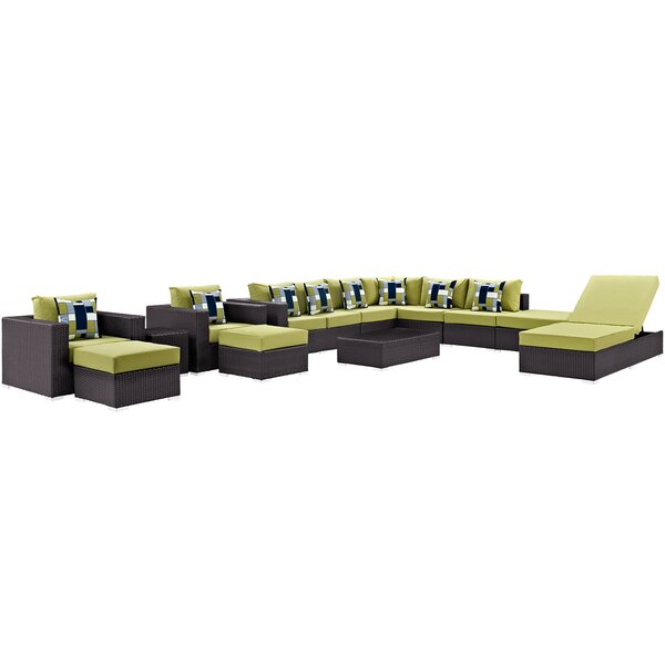 Brentwood 12 Piece Rattan Sectional Seating Group with Cushions by Sol 72 Outdoor