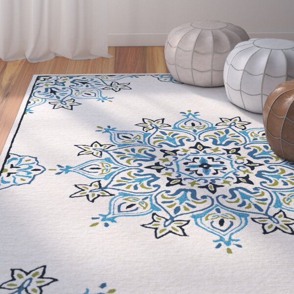 Delmon Hand Hooked Sand/Aqua Indoor/Outdoor Area Rug by Bungalow Rose