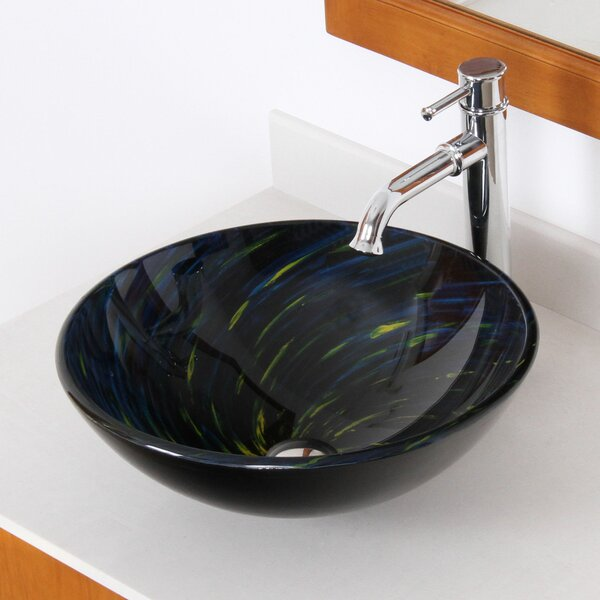Whirlpool Glass Circular Vessel Bathroom Sink by Elite
