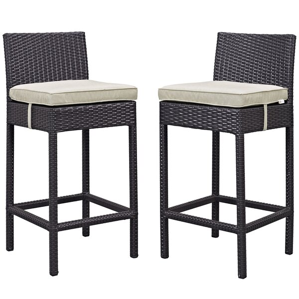 27.5 Patio Bar Stool with Cushion (Set of 2) by Modway