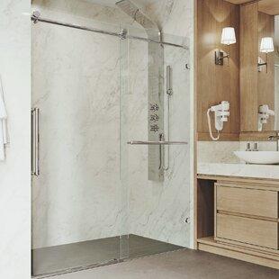 Best Price Ferrara Adjustable 60 x 73.5 Single Sliding Frameless Shower Door ByVIGO
