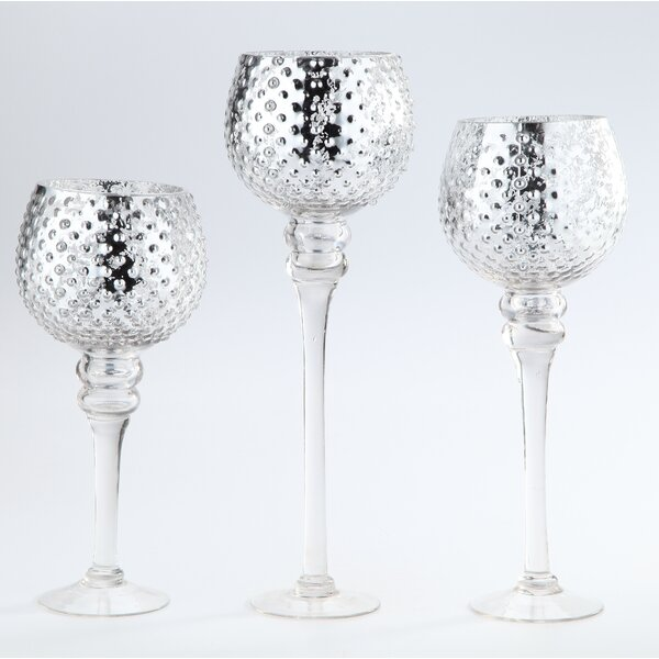 3 Piece Glass Hurricane Set by Diamond Star Glass