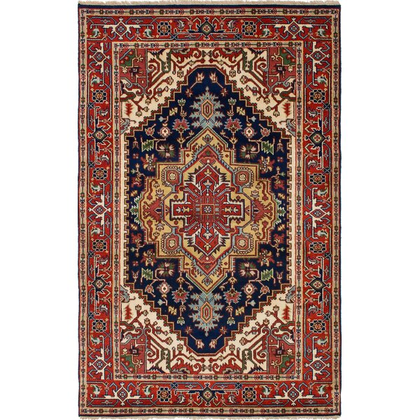 Briggs Hand Knotted Wool Navy Blue/Red Area Rug by Bloomsbury Market