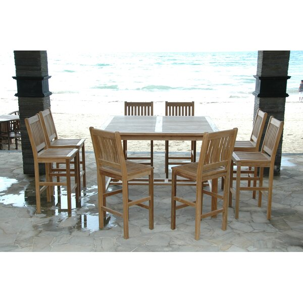 Bourassa 9 Piece Teak Bar Height Dining Set by Freeport Park