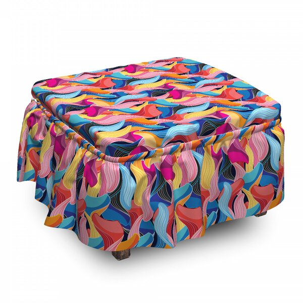 Abstract Unusual Waves Ottoman Slipcover (Set Of 2) By East Urban Home