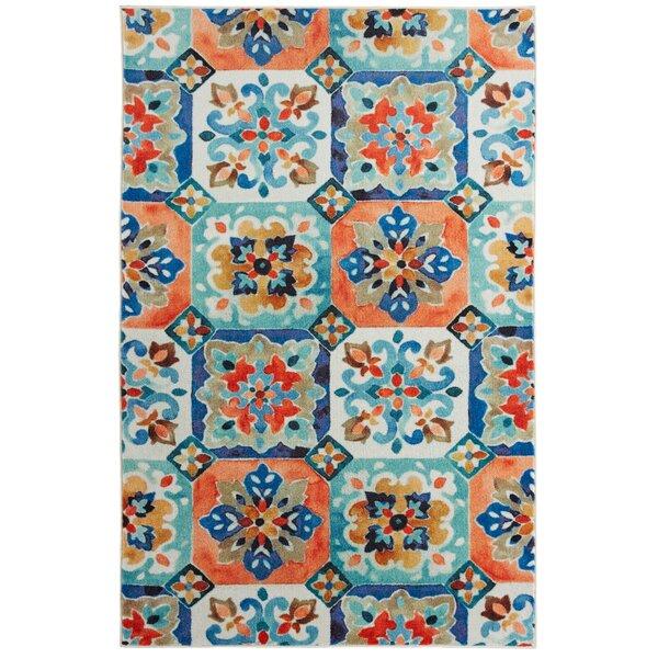 Amblewood Painted Tile Tangerine Orange/Blue Area Rug by Bungalow Rose