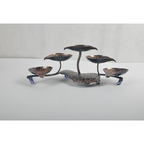 Glass/Metal Lotus Leaf Tabletop Fountain by Continental Art Center