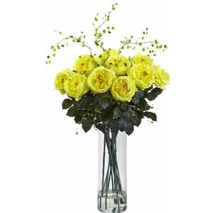 Giant Fancy Rose and Willow Arrangement with Vase