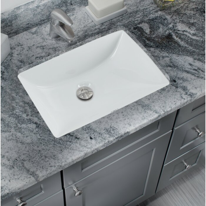 Glazed Vitreous China Rectangular Undermount Bathroom Sink With Overflow
