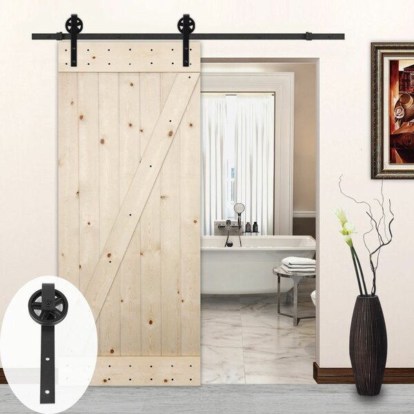 Big Wheel Style Sliding Wood Track Kit Barn Door Hardware by Lubann