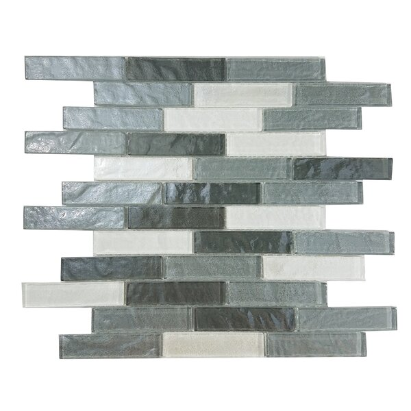 Geo 1 x 4 Glass Mosaic Tile in Gray by Abolos