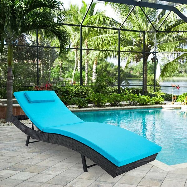 Elienor Outdoor Adjustable Lounge Wicker Chair with Blue Cushion