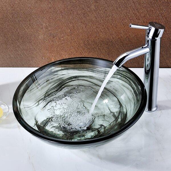 Mezzo Glass Circular Vessel Bathroom Sink by ANZZI