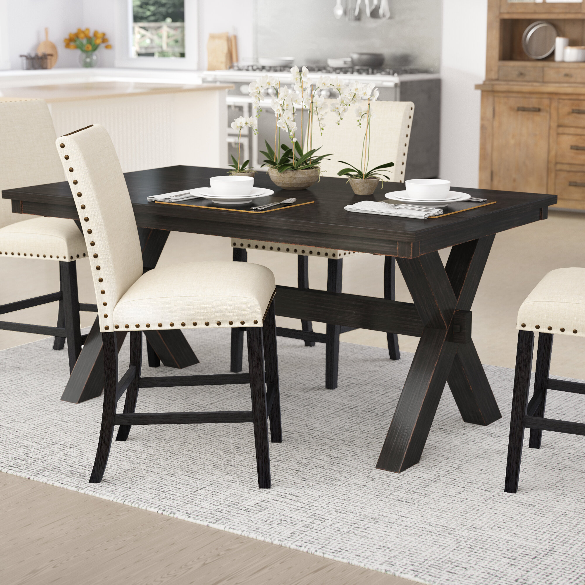 Laurel Foundry Modern Farmhouse Manitou Transitional Dining Table U0026 Reviews  | Wayfair