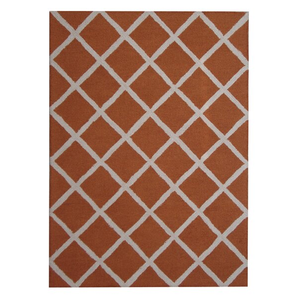 Hand-Tufted Rust/Ivory Indoor Area Rug by Herat Oriental