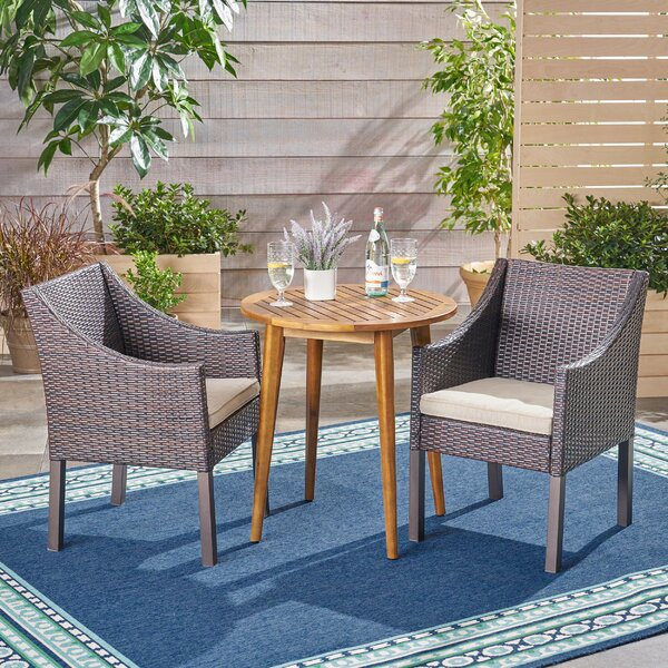 Rodden Outdoor 3 Piece Bistro Set with Cushions by Bungalow Rose