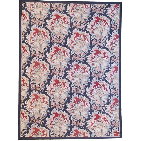 One-of-a-Kind Aubusson Hand Woven Wool Red/Navy Area Rug by Pasargad