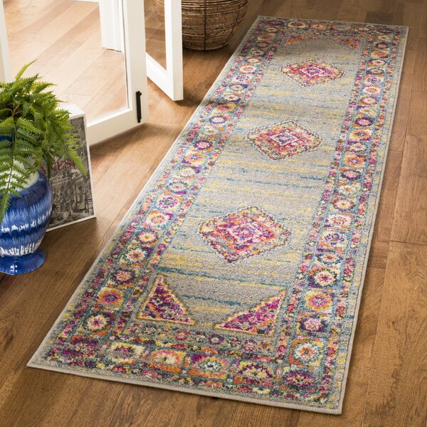 Grieve Light Gray/Fuchsia Area Rug by Bungalow Rose