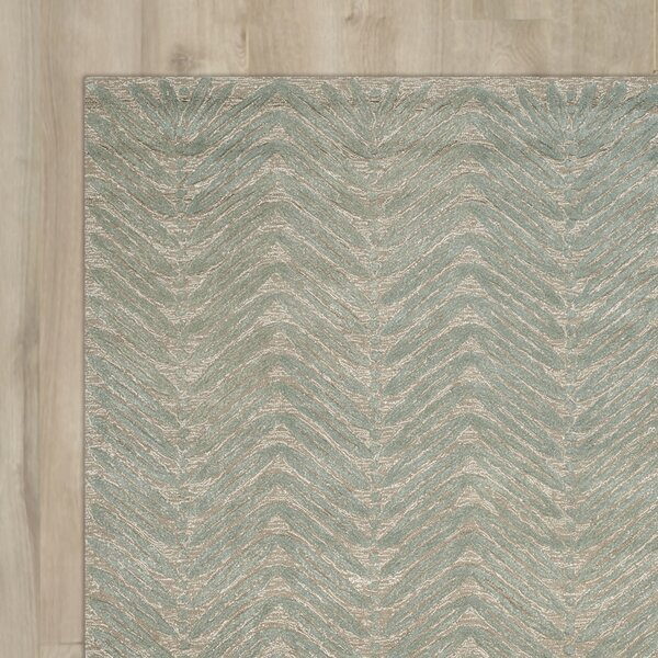 Chevron Leaves Hand-Tufted Blue Fir Area Rug by Martha Stewart Rugs