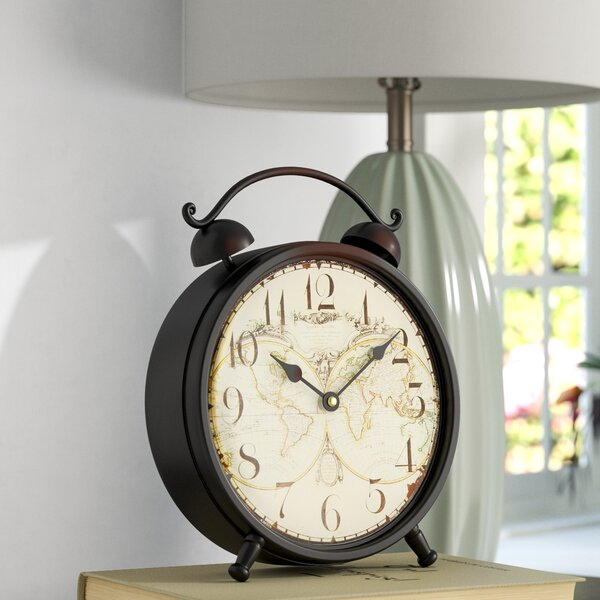 Old World-Inspired Tabletop Clock by Three Posts