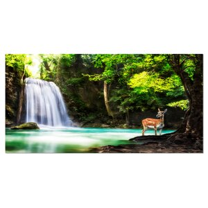 Erawan Waterfall Landscape Photographic Print on Wrapped Canvas by Design Art