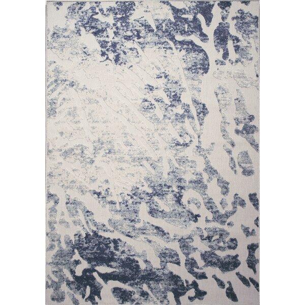 Major Splatter Cream/blue Area Rug By Williston Forge.
