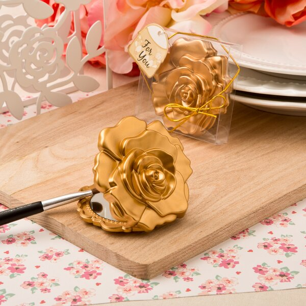 Downie Realistic Rose Design Compact Mirror Favor (Set of 24) by The Holiday Aisle