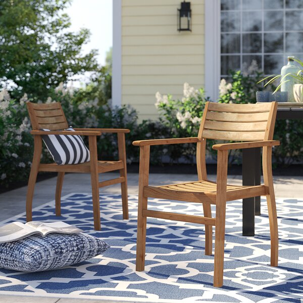 Brighton Stacking Teak Patio Dining Chair (Set of 2) by Sol 72 Outdoor