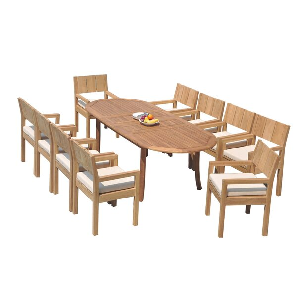 Laussat 11 Piece Teak Dining Set by Rosecliff Heights