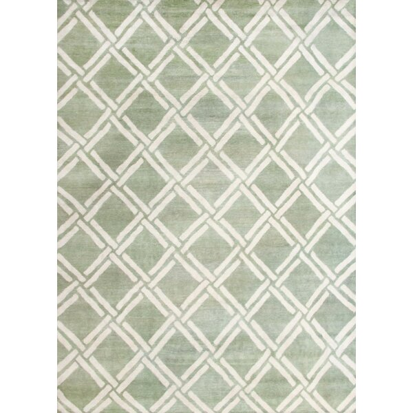 Bombaye Hand-Knotted Green/Ivory Area Rug by Mercer41
