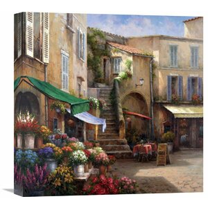 Flower Market Courtyard' by Han Chang Painting on Wrapped Canvas by Global Gallery