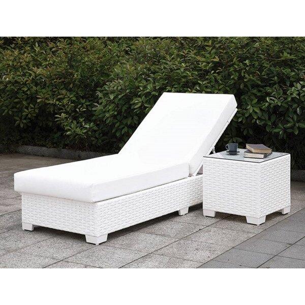 Rashard Adjustable Chaise Lounge with Cushion and Table