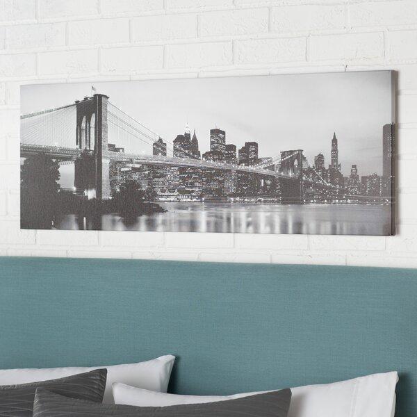 Flowers Brooklyn Bridge Across The East River at Dusk, Manhattan, New York Canvas Wall Art by Brayden Studio