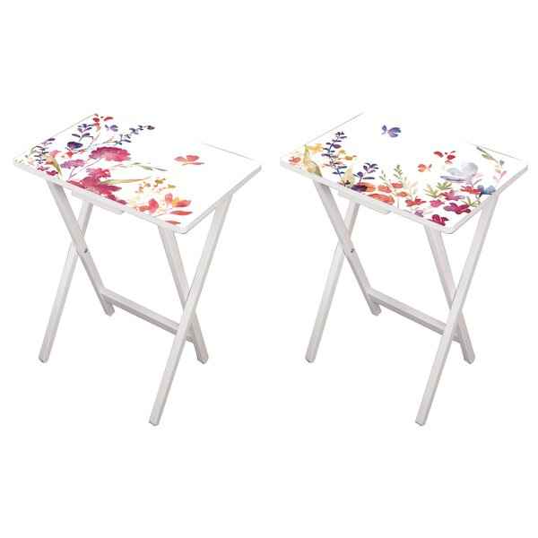 Debbra Watercolor 2 Piece Tray Table Set by August Grove