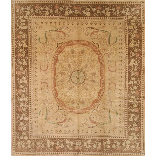 One-of-a-Kind Naber Oushak Egyptian Oriental Hand-Knotted Wool Beige/Ivory Area Rug by Astoria Grand