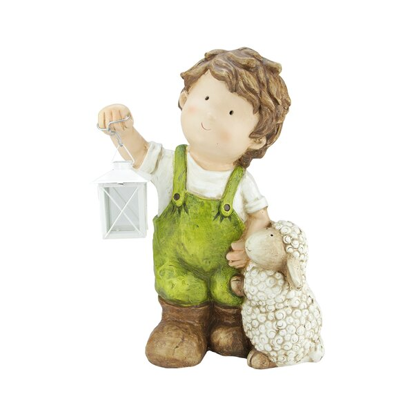 Young Boy Gnome with Lamb and Lantern Outdoor Figure by Northlight Seasonal