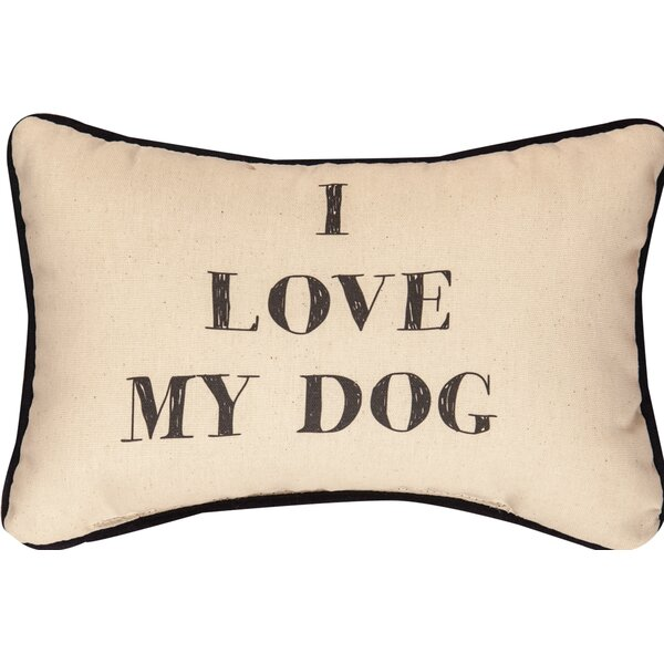 I Love My Dog Word Cotton Lumbar Pillow by Manual Woodworkers & Weavers