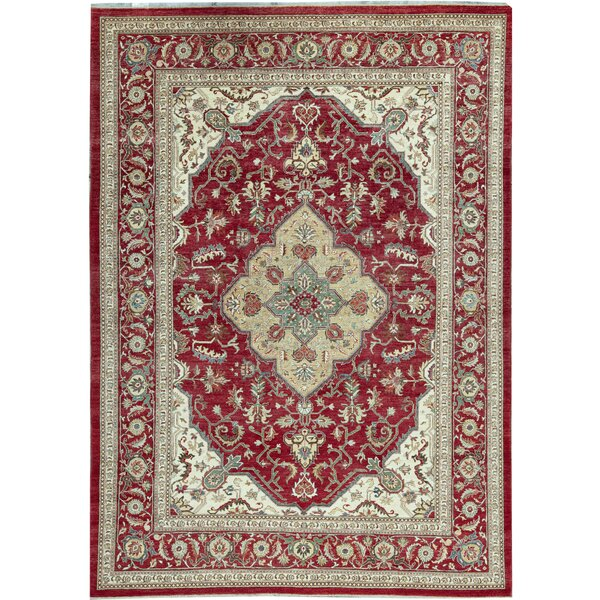 One-of-a-Kind Hand-Knotted Red/Beige 10' x 13'10 Wool Area Rug