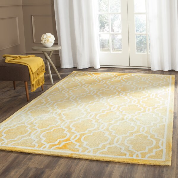Hand-Tufted Wool Gold / Ivory Area Rug by House of Hampton
