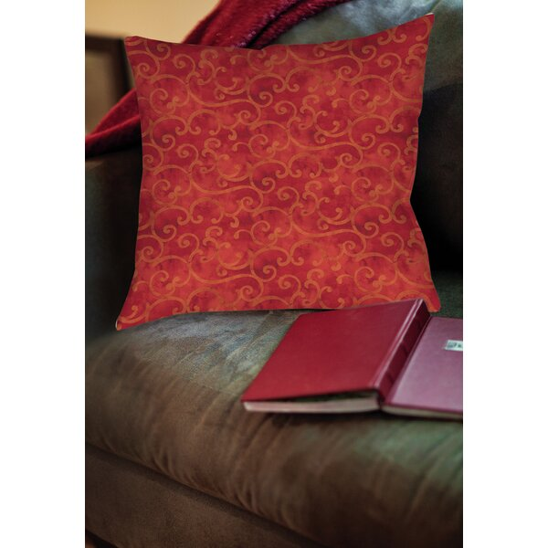 Zinnia Damask Printed Throw Pillow by Manual Woodworkers & Weavers