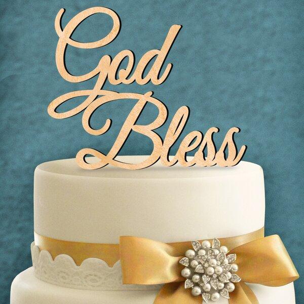 God Bless Wooden Cake Topper by aMonogram Art Unlimited