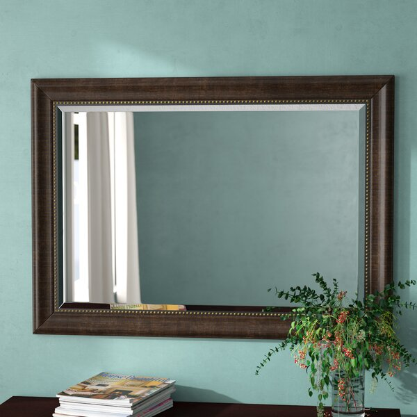 Summitville Beaded Bronze Beveled Wall Mirror by Three Posts