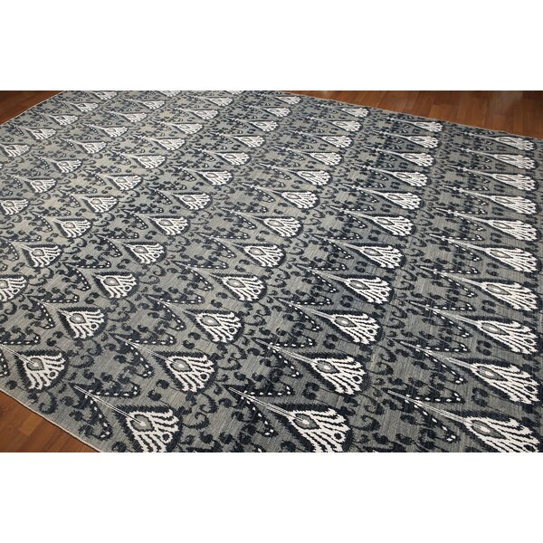 One-of-a-Kind Halleck Hand-Knotted Wool Gray/Blue Area Rug by Canora Grey