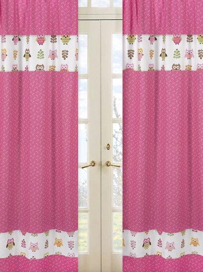 Night Owl Semi-Sheer Rod Pocket Curtain Panels (Set of 2) by Sweet Jojo Designs